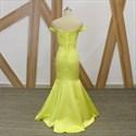Simple Yellow Off The Shoulder Satin Sheath Mermaid Prom Dress
