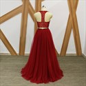Burgundy A Line High Neck Beaded Long Tulle Two Piece Prom Dresses