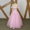 Pink Sweetheart Short Sleeve A Line Long Tulle Prom Dress With Lace