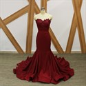 Burgundy Sweetheart Mermaid Prom Dress With Appliques And Train