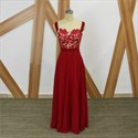Red Square Neck Beaded Applique Sleeveless Chiffon Maxi Prom Dress