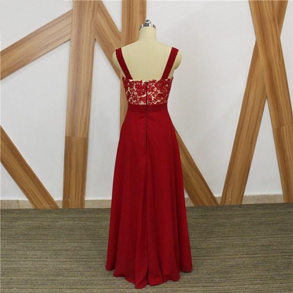 Red Square Neck Beaded Applique Sleeveless Chiffon Maxi Prom Dress