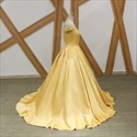 Yellow Ball Gown Sweetheart Cap Sleeve Satin Prom Dress With Flowers