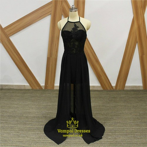 A Line Black Halter Neck Chiffon Prom Dress With Applique And Split