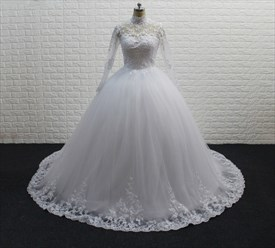 White High Neck Long Sleeve Tulle Ball Gown Wedding Dress With Train