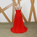 Red Spaghetti Strap Pleated Prom Dresses With Crystals And Slits