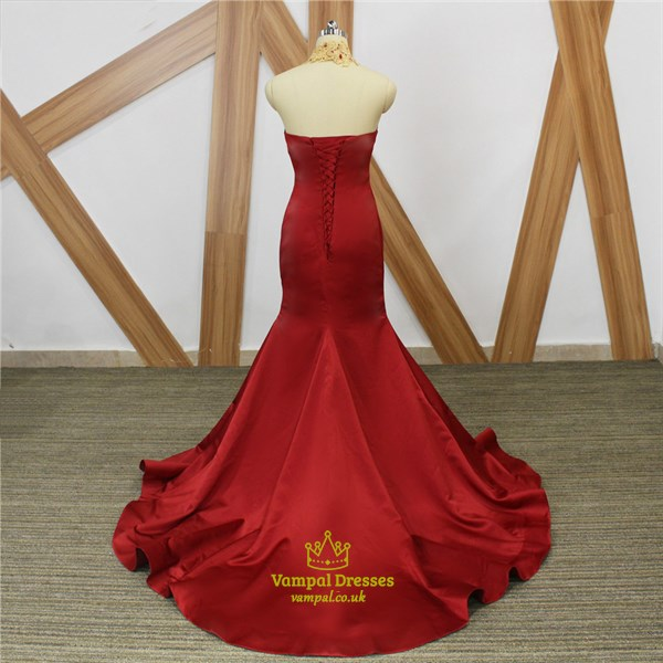 Burgundy Sweetheart Gold Lace Applique Mermaid Prom Dress With Train