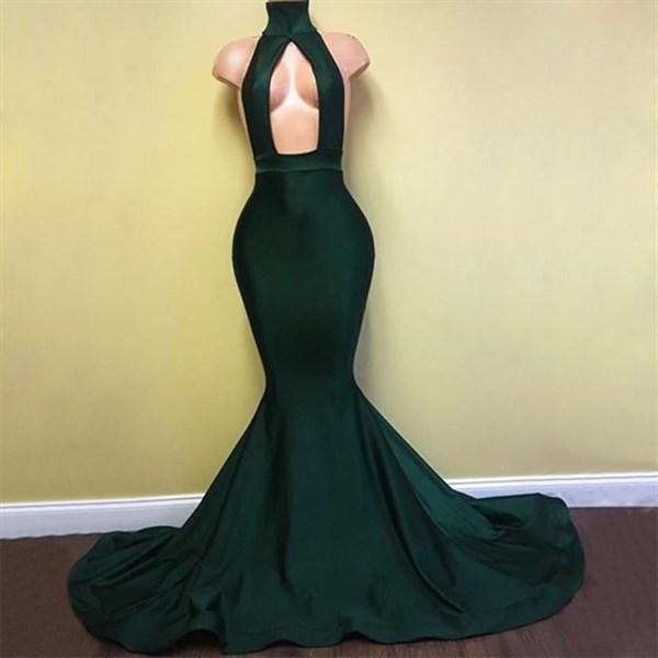 Green High Neck Keyhole Open Back Satin Sheath Mermaid Prom Dress
