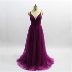 A Line Purple Spaghetti Strap Sleeveless Pleated Tulle Prom Dress