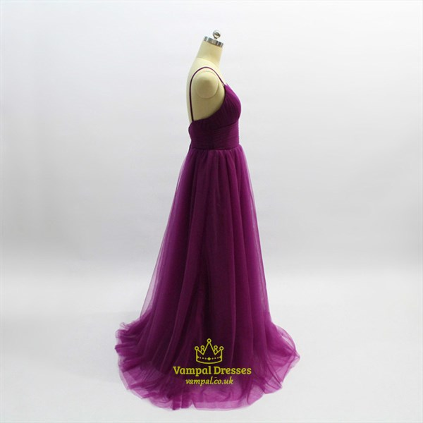 A Line Purple Spaghetti Strap Sleeveless Pleated Tulle Prom Dress