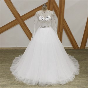 Jewel Long Sleeve Tulle Ball Gown Wedding Dress With Crystal Detail