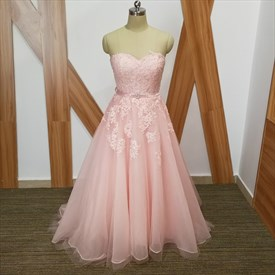 Light Pink A Line Sweetheart Beaded Lace Applique Tulle Prom Dress
