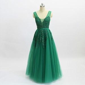 Green A Line V Neck Beaded Lace Applique Floor Length Prom Dress