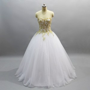 Sweetheart Beaded Applique Ball Gown Prom Dress With Lace Up Back
