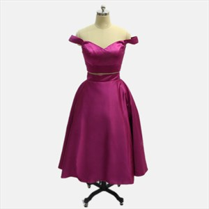 Short Purple A Line Off The Shoulder Sleeveless Satin Two Piece Dress
