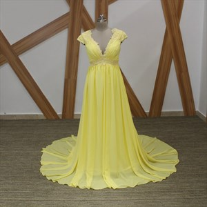 Yellow A-Line V Neck Cap Sleeve Beaded Applique Chiffon Prom Dress
