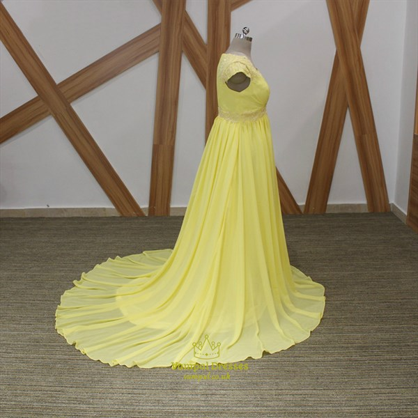 Yellow A-Line V Neck Cap Sleeve Beaded Applique Chiffon Prom Dress