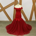 Red Off The Shoulder Cap Sleeve Lace Top Tulle Mermaid Prom Dress
