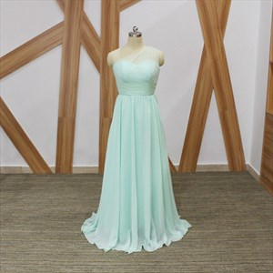 Simple A Line Mint Green One Shoulder Sleeveless Pleated Prom Dress
