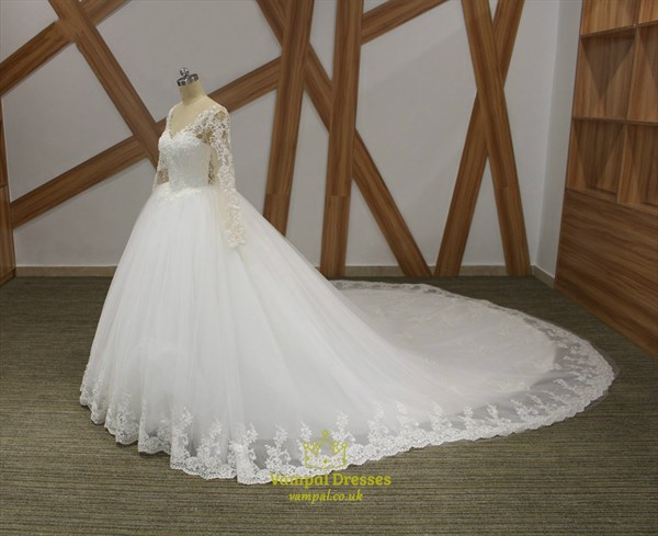 V Neck Beaded Long Sleeve Illusion Back Wedding Dress With Long Train