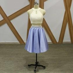 A Line Lilac High Neck Sleeveless Beaded Satin Short Two Piece Dress