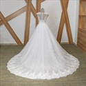 Illusion Back Appliqued Sheath Wedding Dress With Detachable Train