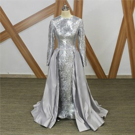 Silver Jewel Long Sleeve Sequin Prom Dress With Detachable Skirt