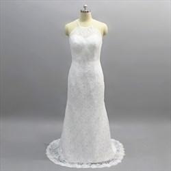 Simple White Spaghetti Strap Illusion Back Lace Prom Dress With Train