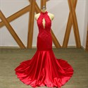 Red Halter Keyhole Open Back Beaded Lace Applique Dress With Train