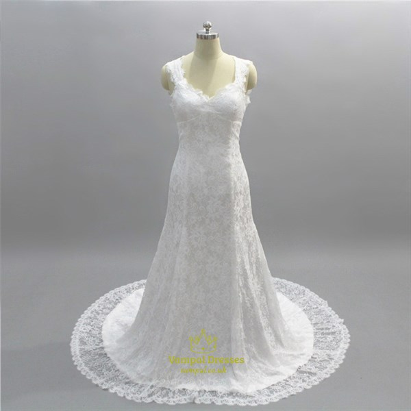 Simple Long V Neck Lace Wedding Dress With Keyhole Back And Train