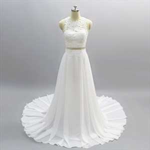 Ivory Sleeveless Illusion Back Two Piece Wedding Dress With Buttons