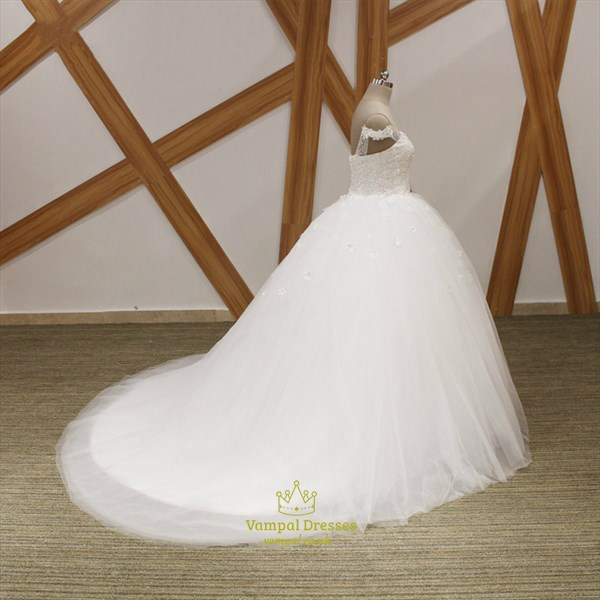 Sweetheart Beaded Cap Sleeve Ball Gown Wedding Dress With Flowers