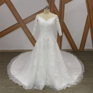V Neck Beaded Applique Wedding Dress With 3/4 Sleeves And Long Train