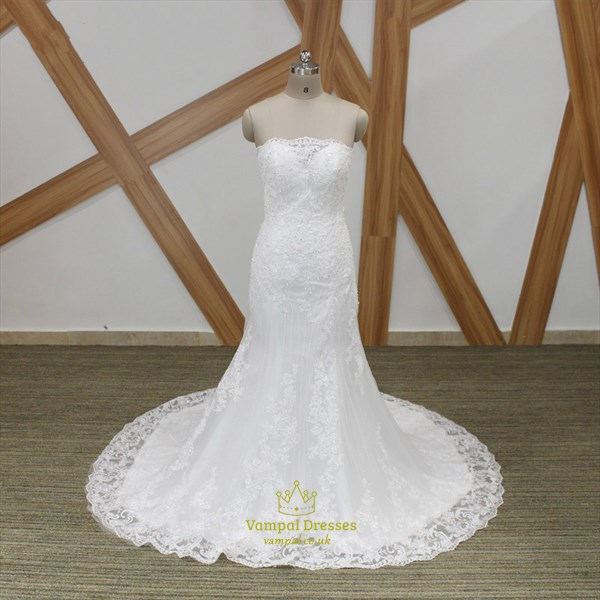 Strapless Beaded Applique Sheath Wedding Dress With Lace Up Back