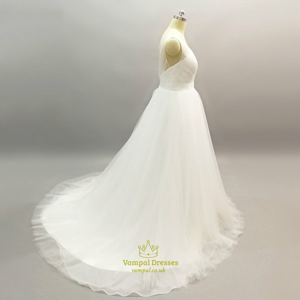 Simple V Neck Sleeveless Ruched Bodice Floor Length Tulle Prom Dress