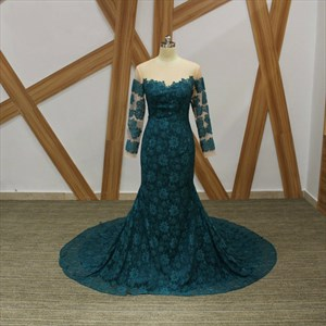 Dark Green Long Sleeve Applique Mermaid Lace Prom Dress With Train