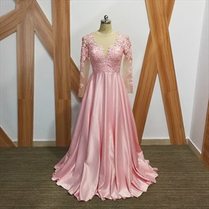 Pink A Line Beaded Applique Long Sleeve Keyhole Back Satin Prom Dress