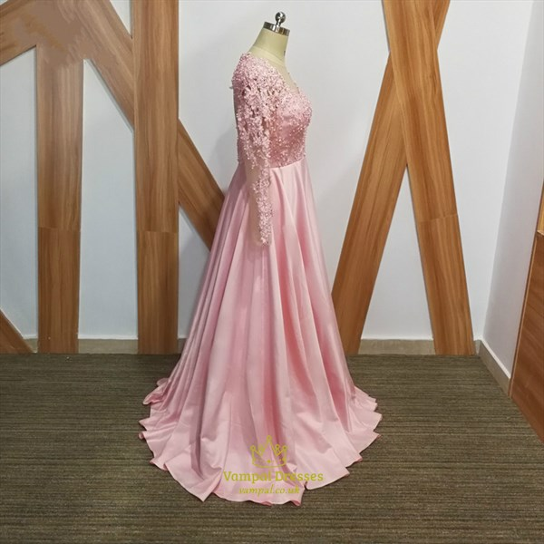 Pink A Line Beaded Applique Long Sleeve Keyhole Back Satin Prom Dress
