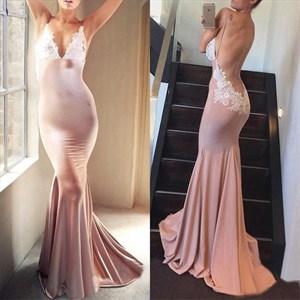 Spaghetti Strap Sleeveless Open Back Applique Mermaid Prom Dress