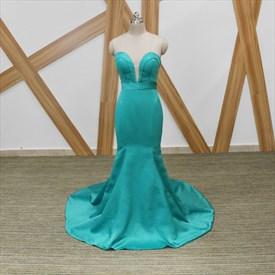 Elegant Blue Sweetheart Sheath Mermaid Satin Prom Dress With Train