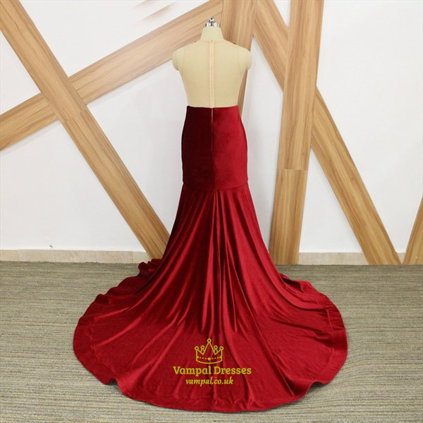 Burgundy Illusion Back Beaded Applique Pleated Plus Size Prom Dresses