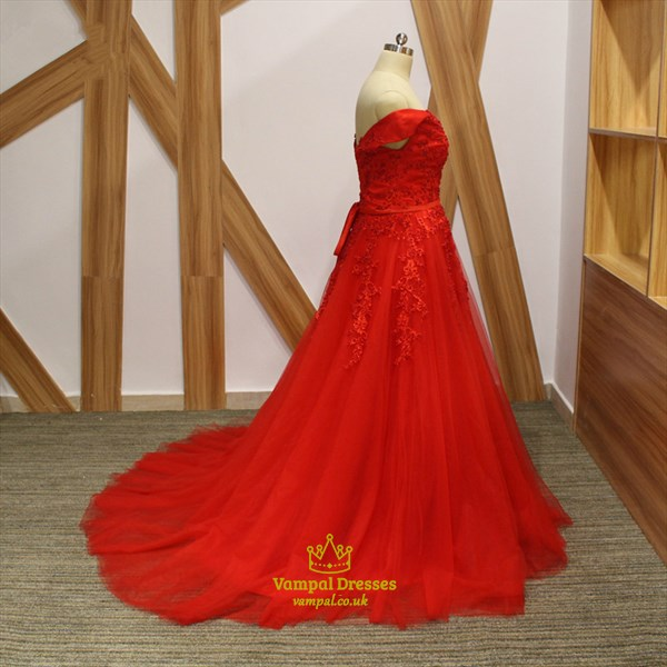 Red A Line V Neck Cap Sleeve Beaded Applique Tulle Prom Dress