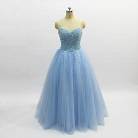 A Line Light Blue Spaghetti Strap Beaded Sleeveless Tulle Prom Dress