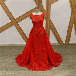 Princess Red Bateau Neck Cap Sleeve Beaded Applique Tulle Prom Dress