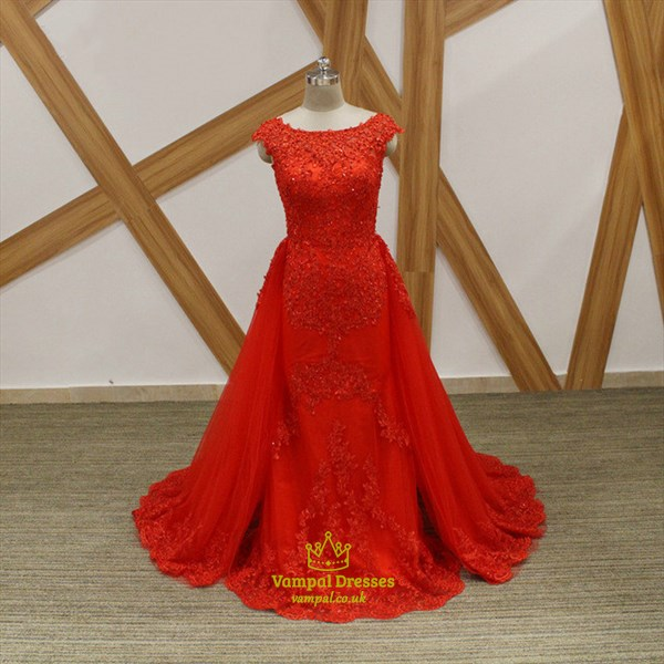 Princess Red Bateau Neck Cap Sleeve Beaded Applique Tulle Prom Dress