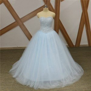Light Blue Sweetheart Sleeveless Beaded Tulle Prom Dress With Lace Up