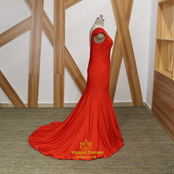 Red V Neck Beaded Cap Sleeve Sheath Long Prom Dress With Train