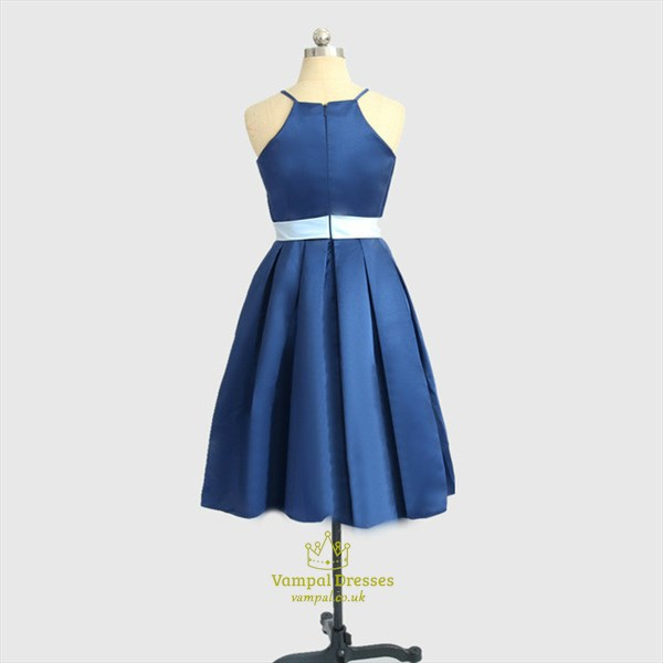 A Line Blue Halter Neck Pleated Satin Short Prom Dress With Bow
