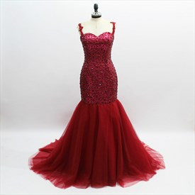 Burgundy Sleeveless Crystal Beaded Sheath Tulle Prom Dress With Train