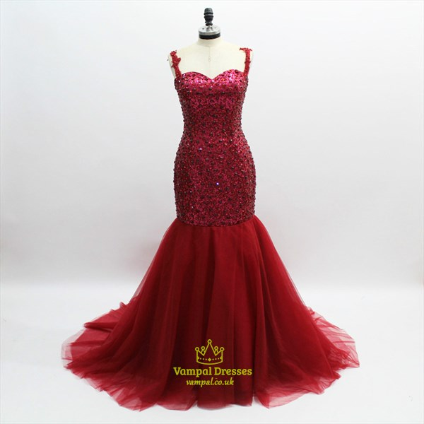 Burgundy Sleeveless Crystal Beaded Sheath Tulle Prom Dress With Train
